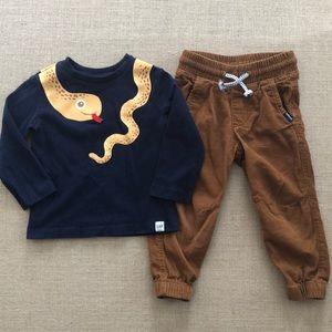Gap snake shirt H&M corduroy joggers sz 18-24 mos